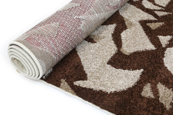 Pablo Brown and Beige Abstract Floral Modern Rug