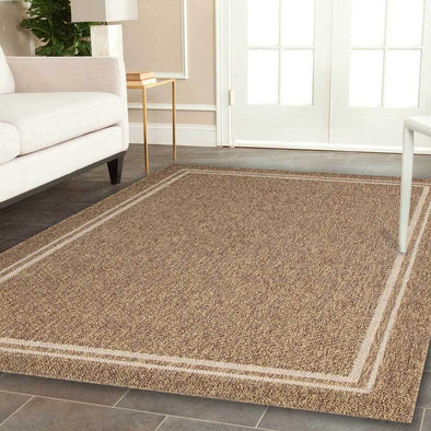Cottage Brown Beige Bordered Rug