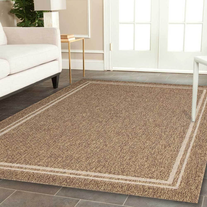 Hawaii Brown Beige Bordered Rug