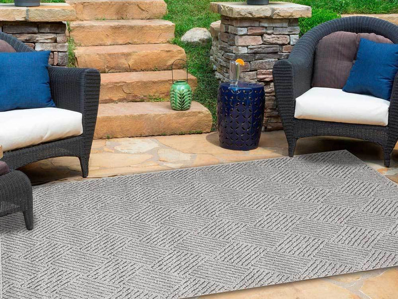 Hawaii Grey Shaped Geometric Ikat Rug