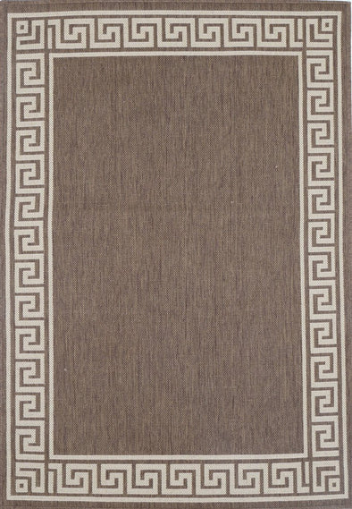 Sisalo Brown Bordered Patterned Rug