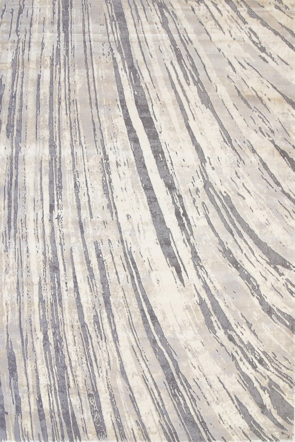 Alyssum Textured High Low Pile Modern Swirl Grey Beige Rug