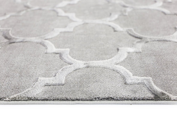 Alyssum Textured High Low Pile Trellis Grey Rug