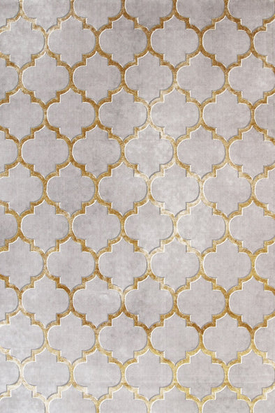 Alyssum Textured High Low Pile Trellis Gold Beige Rug