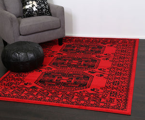 Tribe Red Afghan Traditional Rug