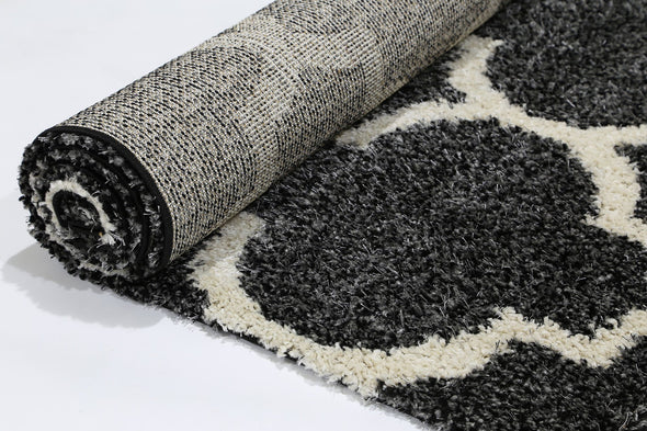 LUMINA LATTICE CHARCOAL CREAM SHAG RUG