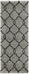 LUMINA LATTICE GREY CHARCOAL SHAG RUG