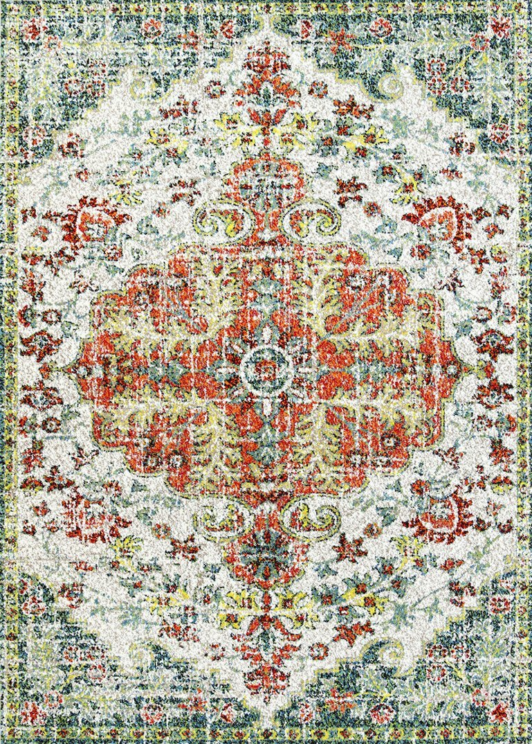 Amsterdam Red Distressed Medallion Traitional Rug