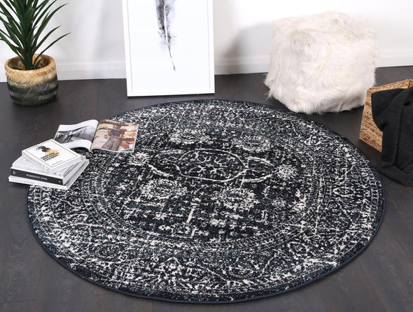Symphony Modern Distressed Navy Round Rug