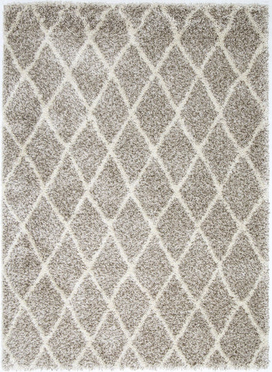 Siesta Diamond Brown Cream Shag Rug