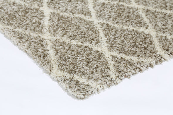 LUMINA DIAMOND BROWN CREAM SHAG RUG