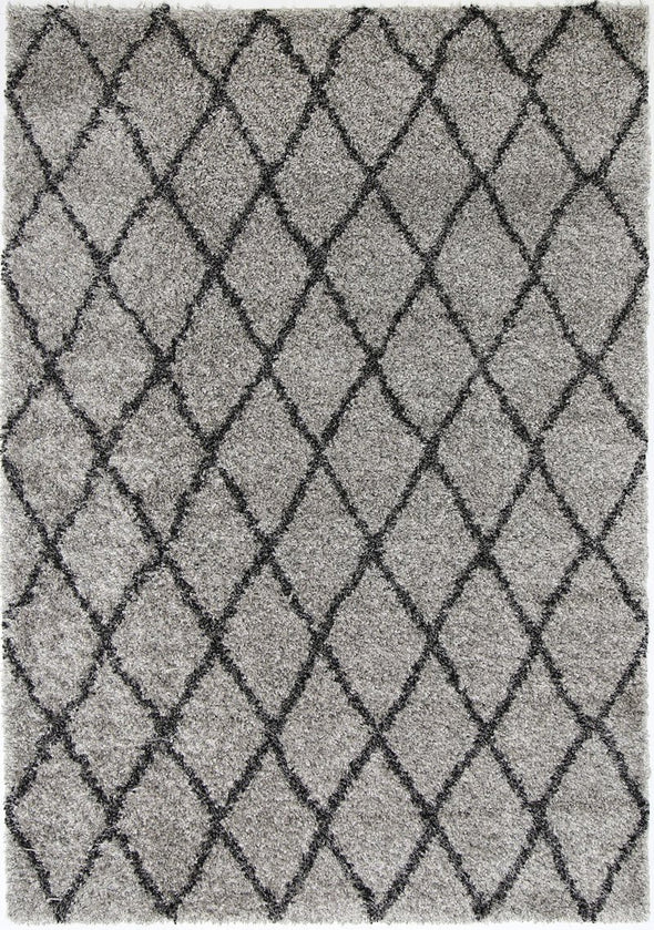 Siesta Diamond Grey Charcoal Shag Rug