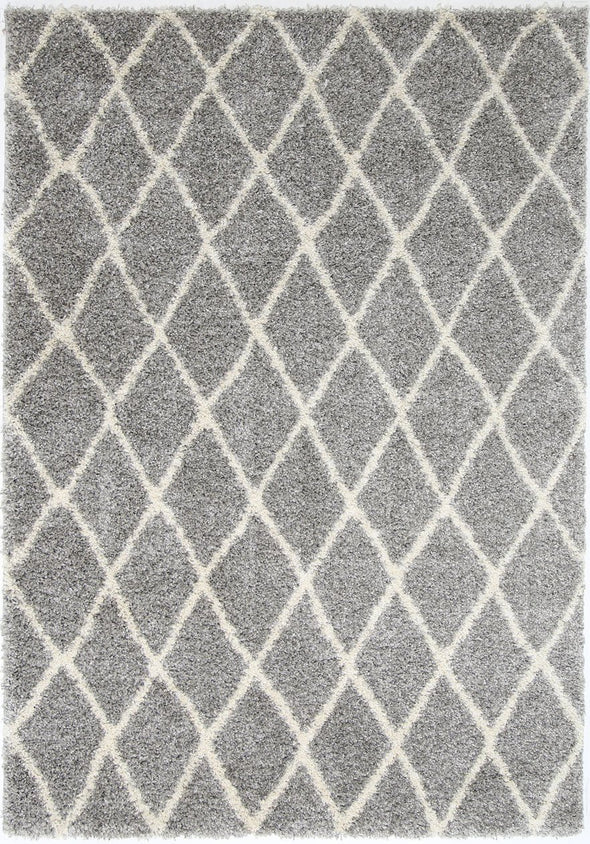 Siesta Diamond Grey Cream Shag Rug