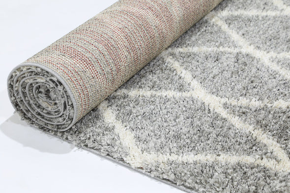 Leandra DIAMOND GREY CREAM SHAG RUG