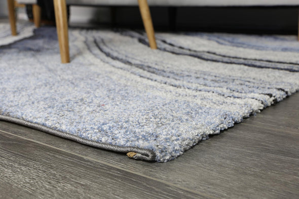 Vision Grey and Blue Line Patterned Rug Rug