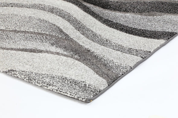 Vision Grey Abstract Waves Patterned Modern Rug