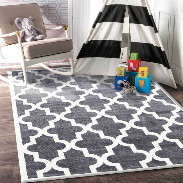 Piccolo Grey and White Lattice Pattern Kids Rug