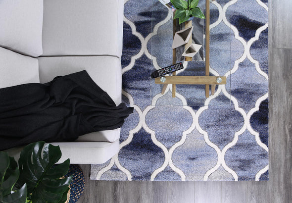 Vision Blue and Grey Geometric Ikat Modern Rug