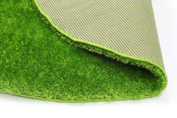 Puffy Soft Shag Round Rug Green