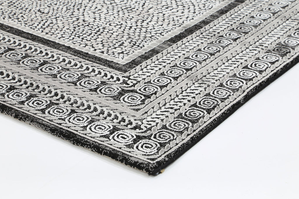 ELITE Textured Pile Luxe Tranistional Black Grey Rug