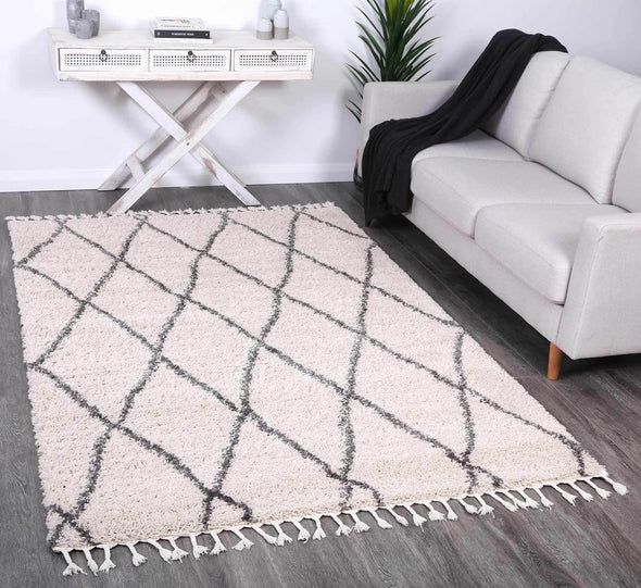 Serenity Clara Diamond Tribal Cream Rug