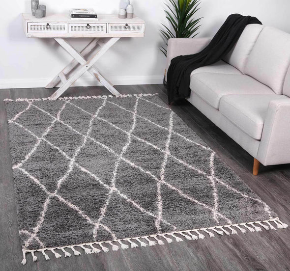 Serenity Clara Diamond Tribal Grey Rug