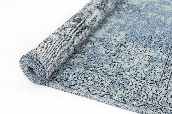 Bohemian Blue Distressed Bordered Rug