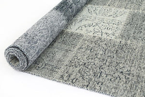 Bohemian Grey Patchwork Distressed Rug