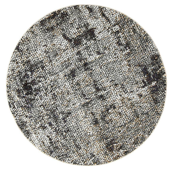 Roman Mosaic Solid Ash Round Rug