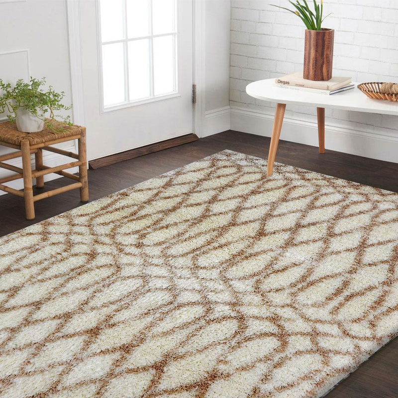 Ocean Cream Shag Patterned Ikat Rug