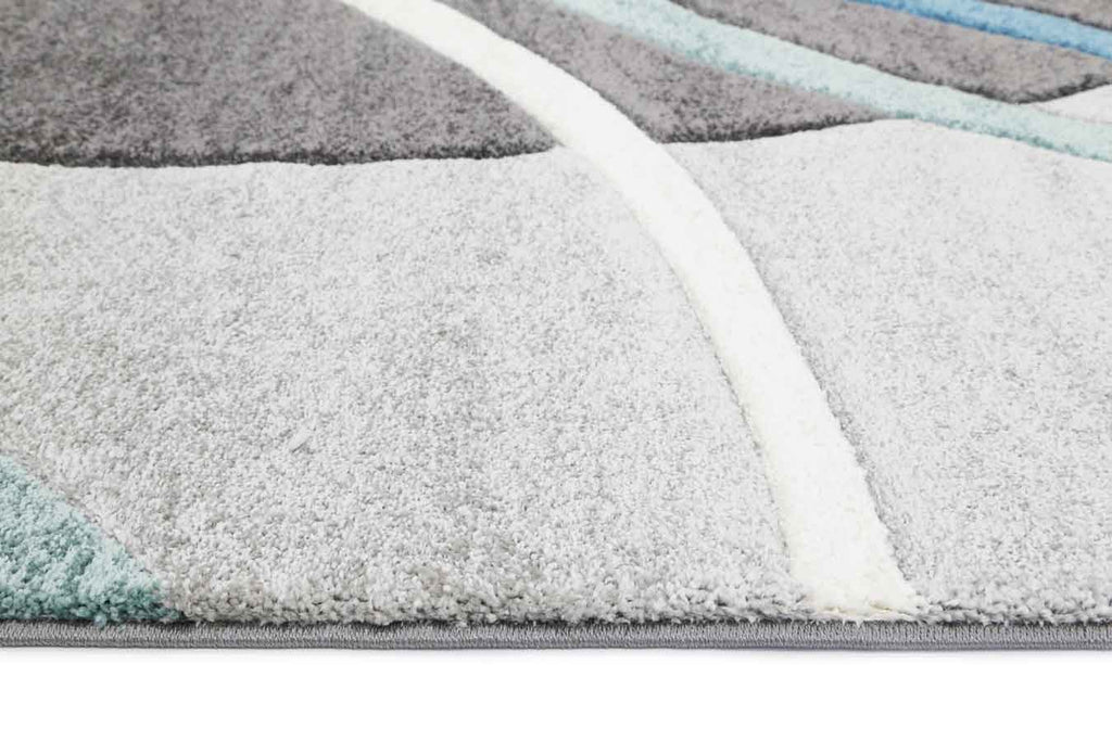 Essence Blue and Grey Rings Rug