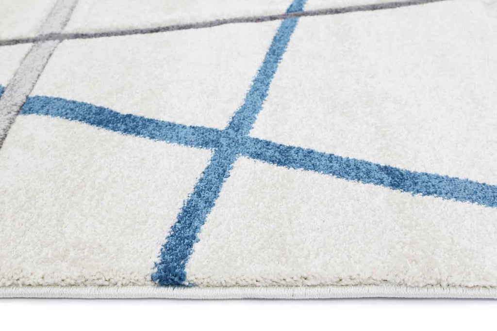 Essence Blue and Grey Lines Patterned Rug