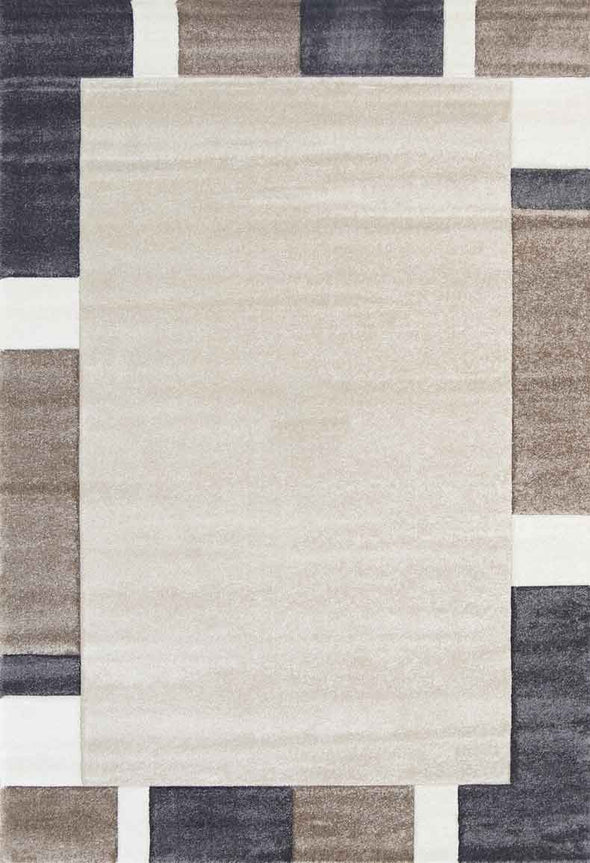 Essence Brown and Grey Simple Boarder Rug