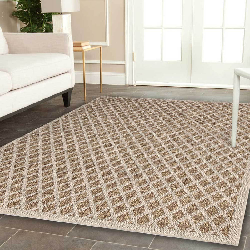 Hawaii Brown Beige Bordered Diamond Pattern Ikat Rug