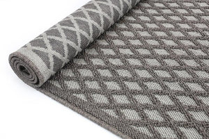 Hawaii Grey Bordered Diamond Pattern Ikat Rug