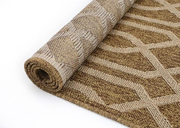 Cottage Brown Beige Geometric Ikat Rug