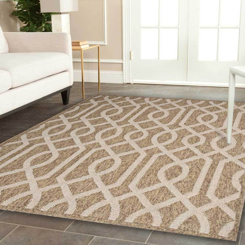 Hawaii Brown Beige Geometric Ikat Rug
