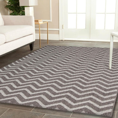 Cottage Grey Ikat Geometric Rug