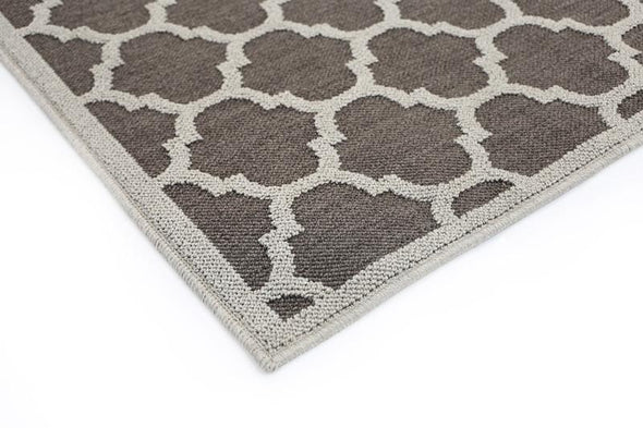 Cottage Grey Bordered Geometric Ikat Rug