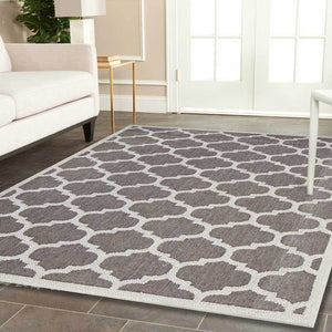 Hawaii Grey Bordered Geometric Ikat Rug