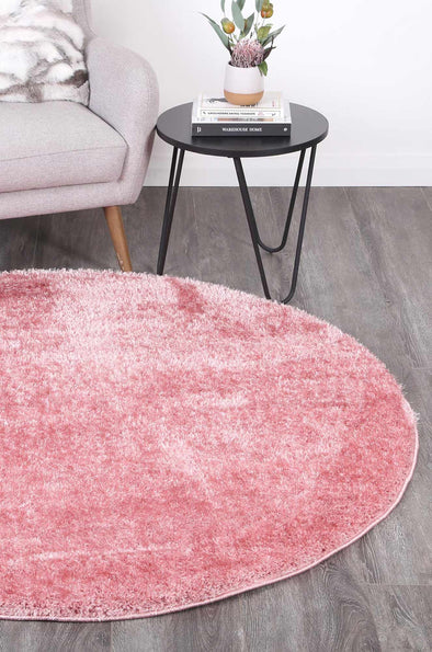 Puffy Soft Shag Round Rug Pink