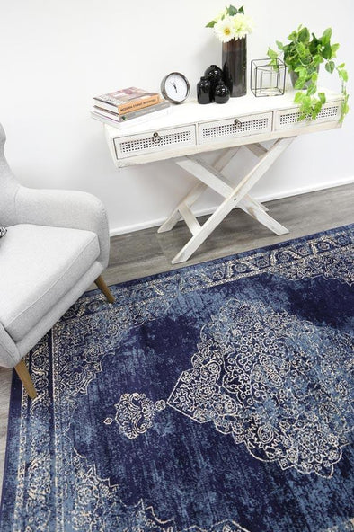 Arya Navy Distressed Contemporary Rug