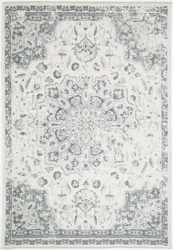 Rusty Vintage Motif, Amazing 2 in 1 Reversible Rug Grey