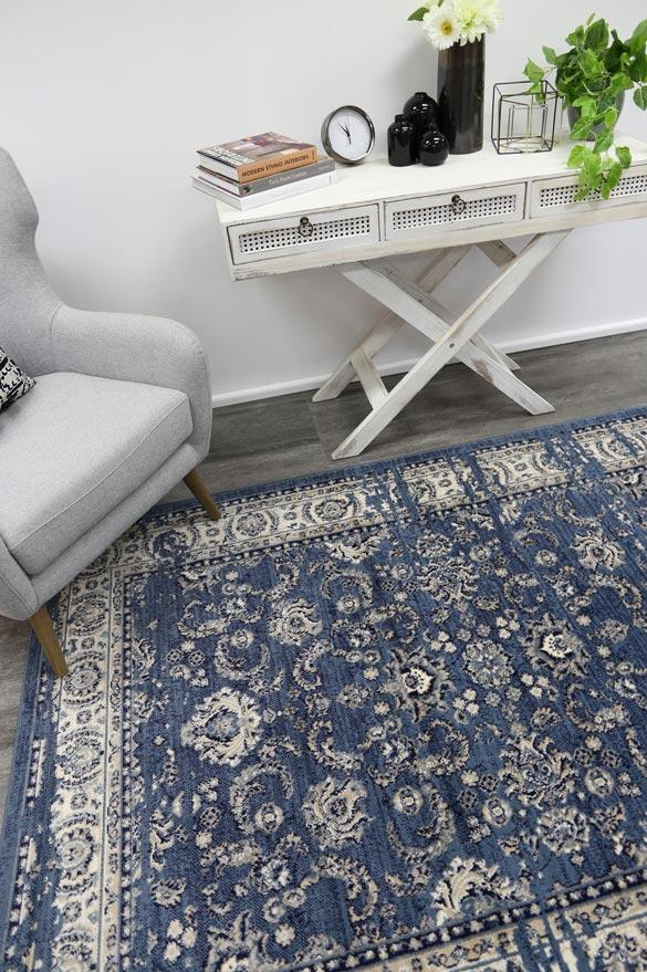Arya Navy Blue Ziegler Distressed Traditional Ikat Rug