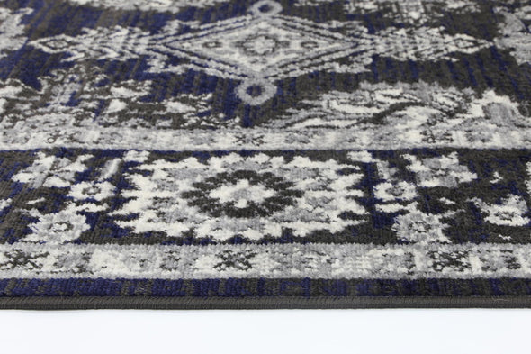 Arya Navy Blue and Grey Ziegler Traditional Ikat Rug