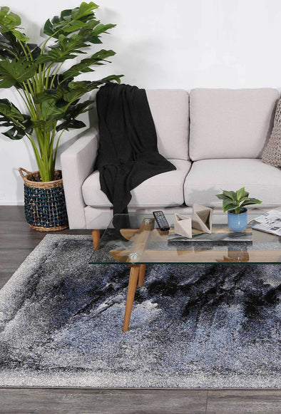 Vision Blue and Grey Abstract Bordered Modern Rug