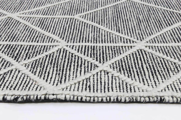 Braided Zair Bohemian Geometric Rug Charcoal