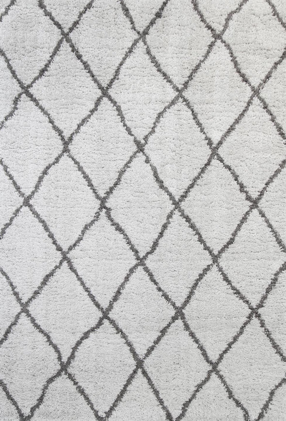 Moroccan Silver and Grey Diamond Rug