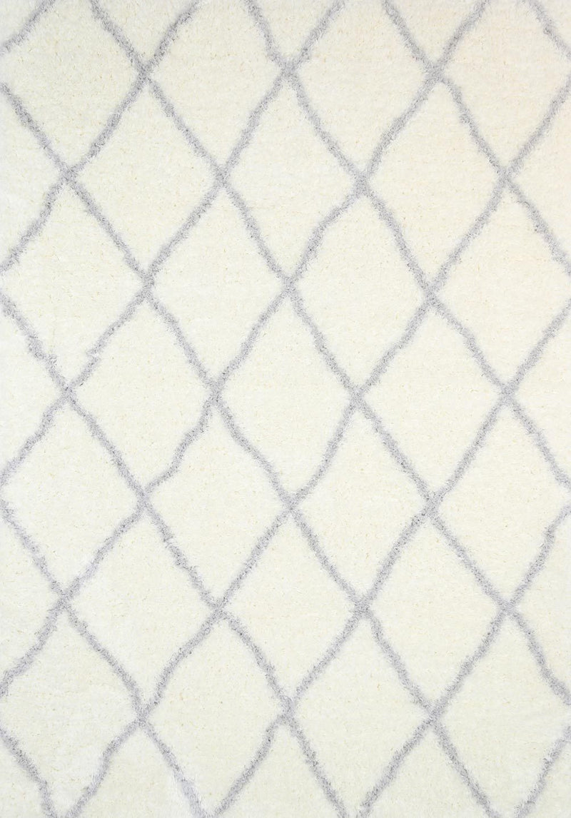 Moroccan Cream and Silver Diamond Rug