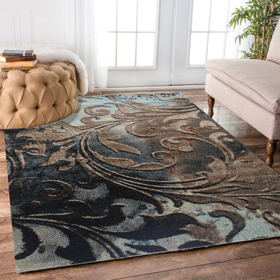 Vintage Vines Blue Abstract Flower Patterned Rug